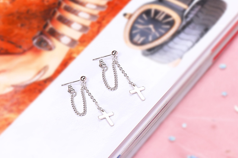 925 Solid Sterling Silver Cross Tassel Charm Drop Earrings for Women Jewelry Party Accessories pendientes Brincos eh1034 8
