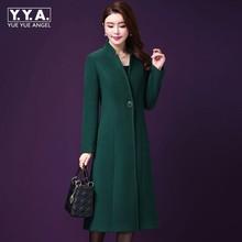 Зимнее женское длинное шерстяное пальто на одной пуговице, приталенный Тренч в стиле OL, винтажный шерстяной меховой жакет с вортником стойкой, Женское пальто