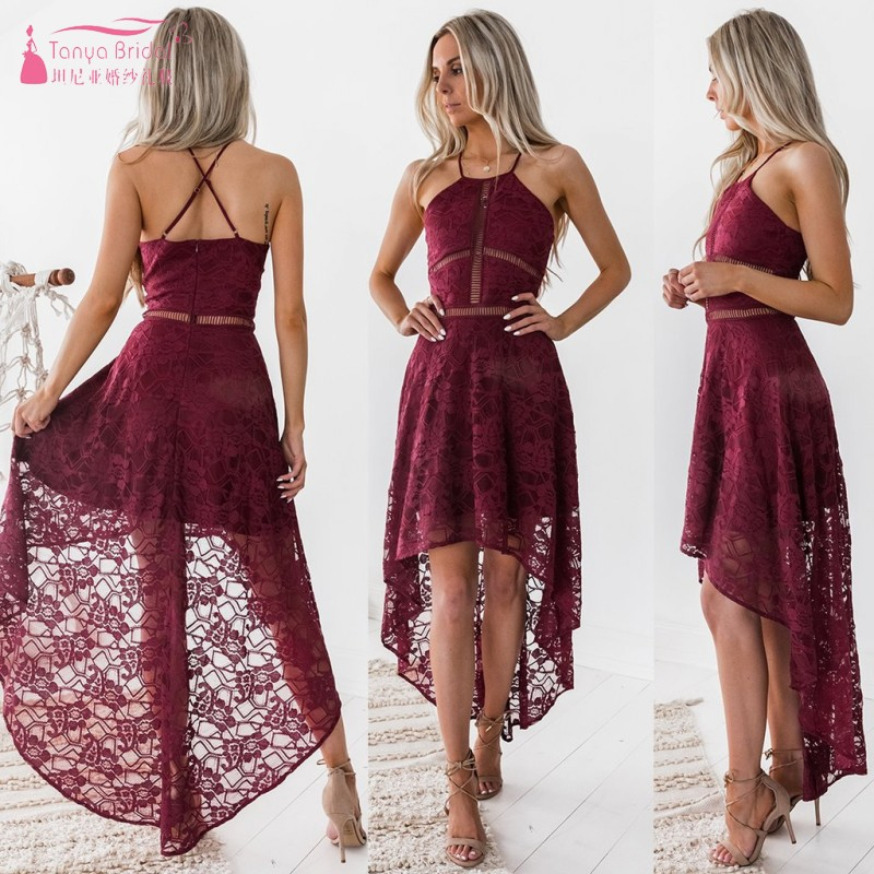 Vintage Short front Long Back High Low Lace Cocktail Dresses 2019 In stock Cheap Party Dress White Homecoming Gowns DQG747