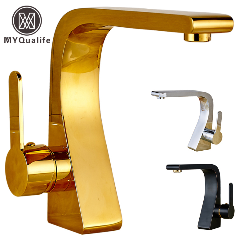 Chrome/Black/Golden Single Handle Hole Brass Bathroom Faucet Deck Mounted Brass Basin Vanity Sink Mixer Taps antique brass and golden bathroom washing basin faucet single handle brass short vanity sink mixer taps