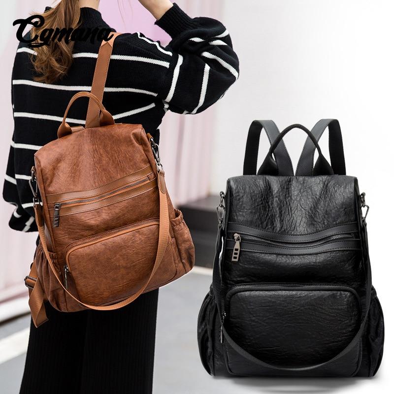 CGMANA Fashion Women Backpack 2018Soft Leather Anti-theft Female Travel High Quality School Bag Mochilas