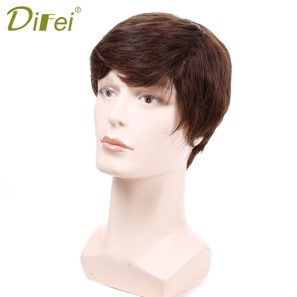 DIFEI Short Straight Wigs For Men Natural Hair Pieces Straight Men's Wigs Heat Resistant Fake Hair Black Brown red