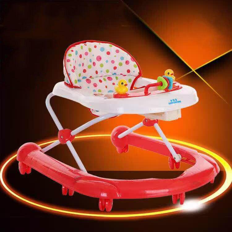 Trotteur multicolore pliable avec roues en caoutchouc réglage enfant Assistant de marcheur d'apprentissage Anti-retournement pour enfants 6 ~ 18 M