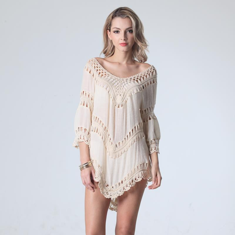 2f6adc597cb91 Crochet Boho Beach Knitted Top Cover Up Swimsuit Tunic Hollow Out Pullovers  Summer Loose Top Back Off Casual-in T-Shirts from Women's Clothing on ...