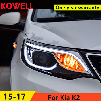 KOWELL Car Styling For  Kia K2 Headlights 2015-2017 New K2 Rio LED Headlight LED DRL Bi Xenon Lens High Beam Parking Fog Lamp