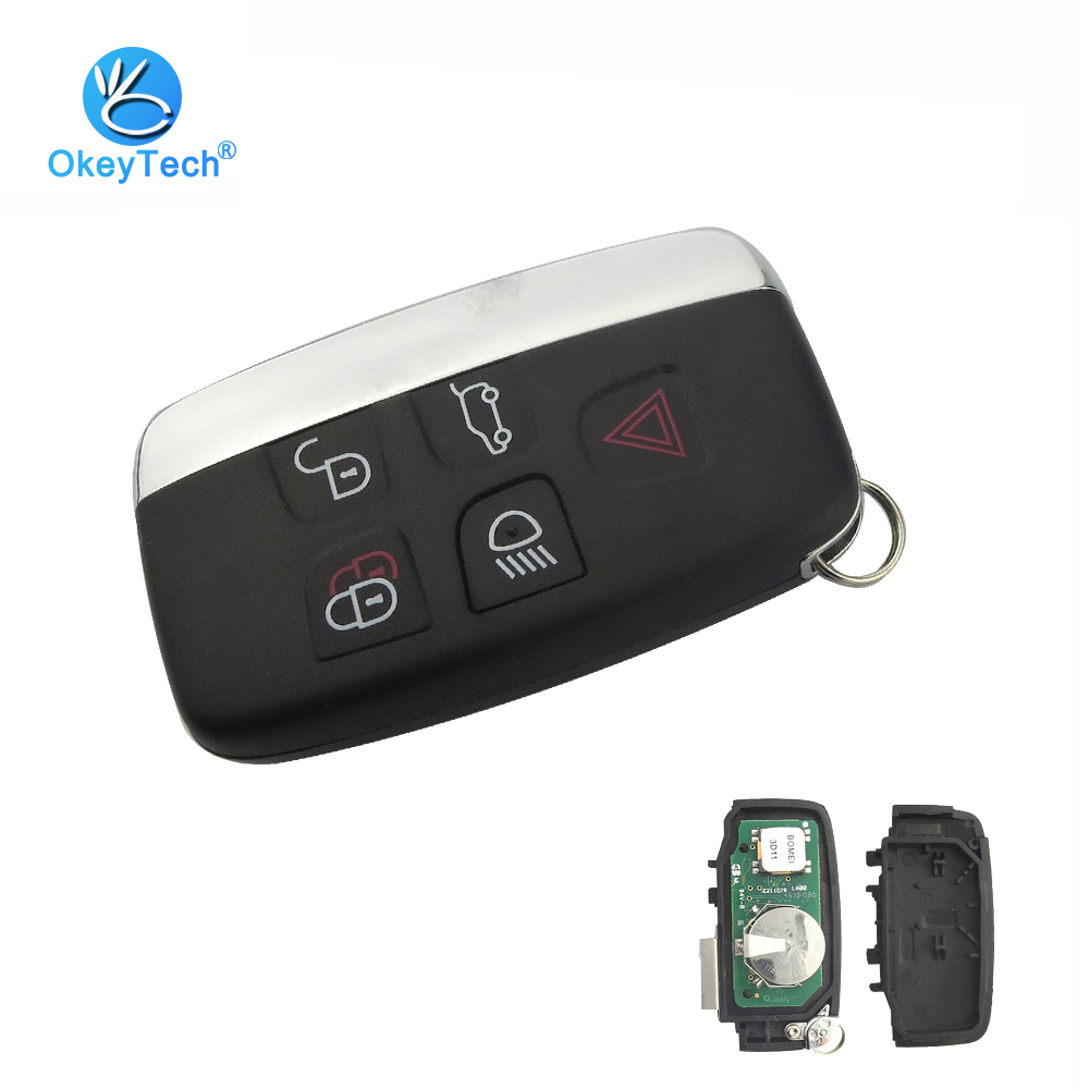 OkeyTech 5 Button 315/433MHZ ID47 Chip Keyless Entry Remote Key for Land Rover Range Rover Sport Evogue LR4 Luxury Smart Card