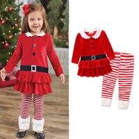 春女の赤ちゃんクリスマス服セット女の子子供サンタスーツ縞模様のパンツ女の子子供tシャツドレスクリスマスセット衣類