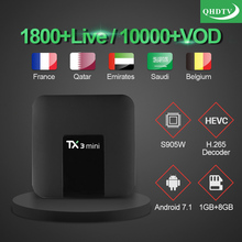 TX3 mini Android 7.1 Smart TV BOX Amlogic S905W Quad Core Set-top box H.265 4K Media Player TX3mini QHDTV Arabic French IPTV Box цена 2017