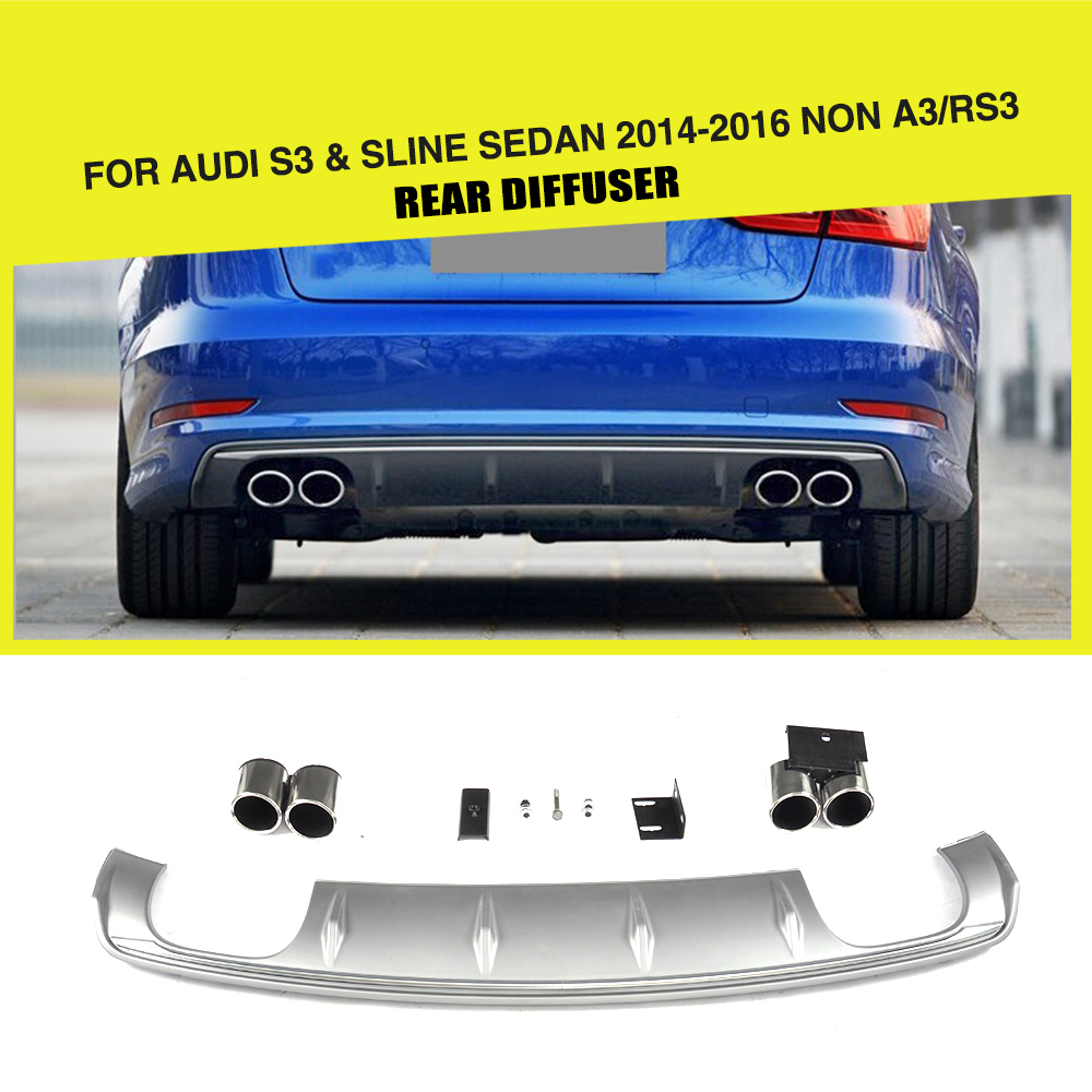 PP Rear Diffuser Lip Bumper Protector With Exhaust Muffler For Audi S3 Sline Sedan 4 Door Non A3 RS3 2014-2016