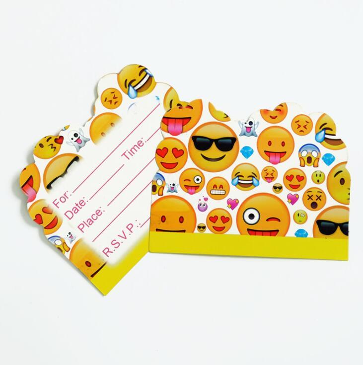 1 58 18 De Descuento 10 Piezas 11 14 Cm Emoji Tema Invitación Tarjeta Cumpleaños Fiesta Suministros Dibujos Animados Fiesta Decoración In Vajilla