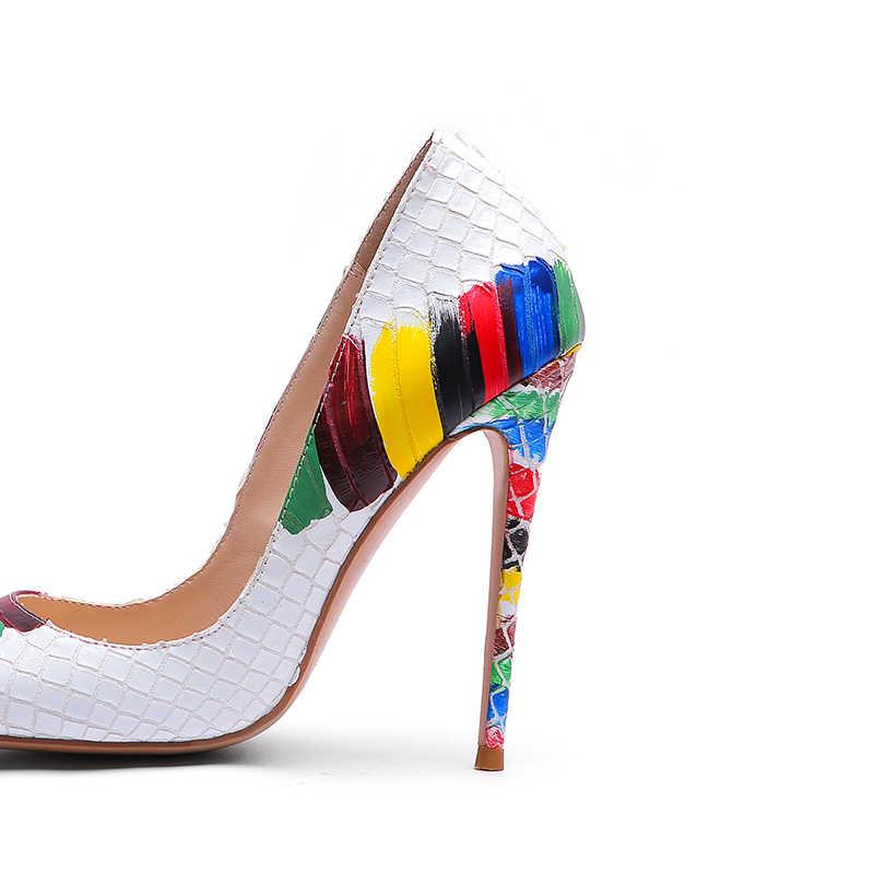 WETKISS エンボス革パンプス女性指摘かかと 12 センチメートル浅い靴女性のカラフルな靴ワニハイヒールパーティー夏 2019
