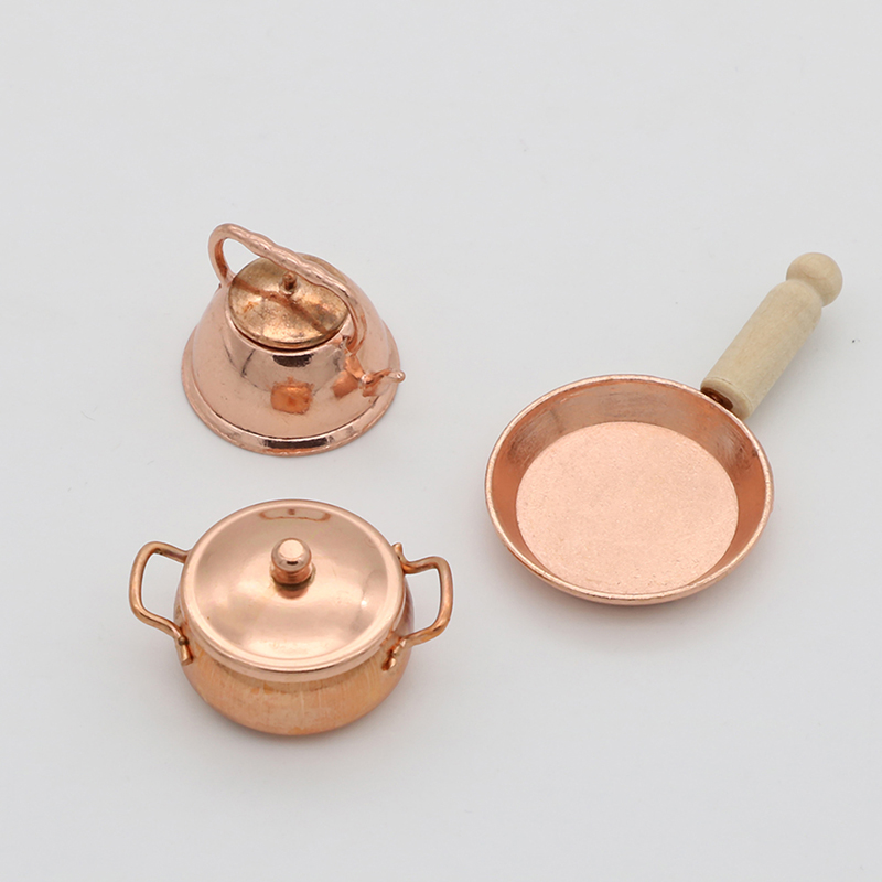 3pcs/Set 1:12 Scale Dollhouse Miniature Bronze Frying Pan Cooking Pot Kettle Cookware Kitchen Cooking Kit Dolls Accessories