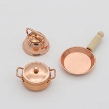 цена на 3pcs/Set 1:12 Scale Dollhouse Miniature Bronze Frying Pan Cooking Pot Kettle Cookware Kitchen Cooking Kit Dolls Accessories