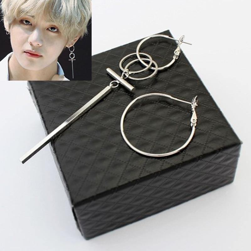 KPOP DNA Korean Hot sale Pop Jewelry Bangtan Boys Album silver color Stud Earrings For Women Vintage Long Men Earrings Geometric