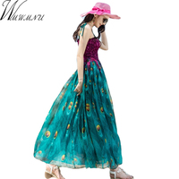Wmwmnu 2017 New Summer Spaghetti Strap Dresses Peacock Printed Women Dress Chiffon Sexy High Waist Boho