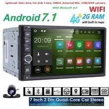 Quad Core autoradio 2 din android 7.1 de navegação gps rádio do carro dvd jogador 2din volante Traseiro Visão Da Câmera WI-FI 4G 2G RAM BT