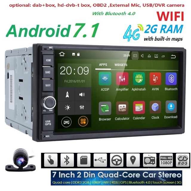 quad core autoradio 2 din android 7 1 radio gps navigation car dvd player 2din steering wheel. Black Bedroom Furniture Sets. Home Design Ideas