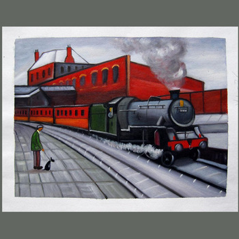 Hand Painted Modern Cartoon Oil Painting Red Train Wall Picture Painting On Canvas Modern Home Decor Wall Decor Office wall Deco