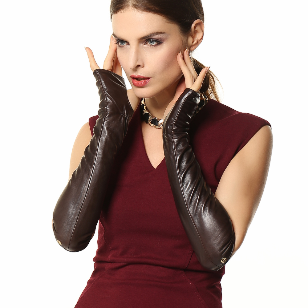 High quality womens leather gloves - Fashion 41cm Long Female Real Genuine Leather Gloves Opera Women Fingerless 2017 New Banquet Solid Sheepskin