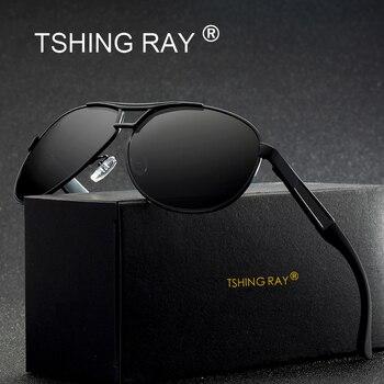 af274837e7 TSHING RAY moda hombres Polarized Pilot gafas de sol hombres Vintage marca  Vintage aviación conducir gafas de sol para hombre con caja