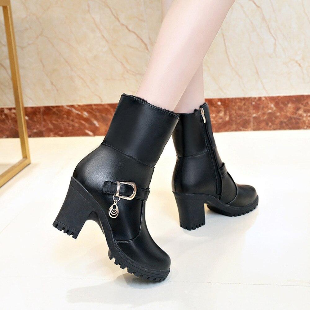 Zapatos Pliegue vino Diseño Algodón Retro Calientes Botines Caliente Cuero  Las Alto Negro Tinto Mujeres Botas Del Pie Mantener De Dedo Tacón Redondo  Rfwq07 2b10443c7d1b