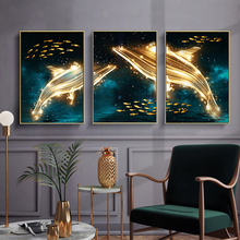 New!Modern abstract 3 pieces starry sky gold dolphin mood fish canvas decorative painting living room wall picture home decor