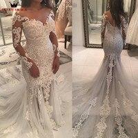 Mermaid Long Sleeve Lace Tulle Pearls Beaded Sexy Vintage Wedding Dresses Bride Wedding Gowns Marriage Vestido De Noiva JW93M