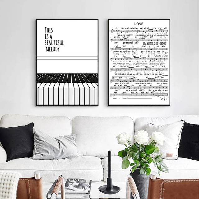 Nordic Minimalist Piano Score Canvas Painting Black White Wall Art Poster Graphic Pictures For Living Room