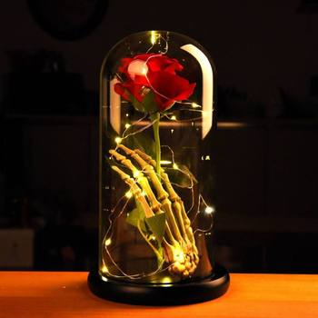 Wedding Birthday Gift Beauty And Beast Rose Fallen Petals in a Glass Dome on a Wooden Base for Christmas Valentine's Gifts Glass