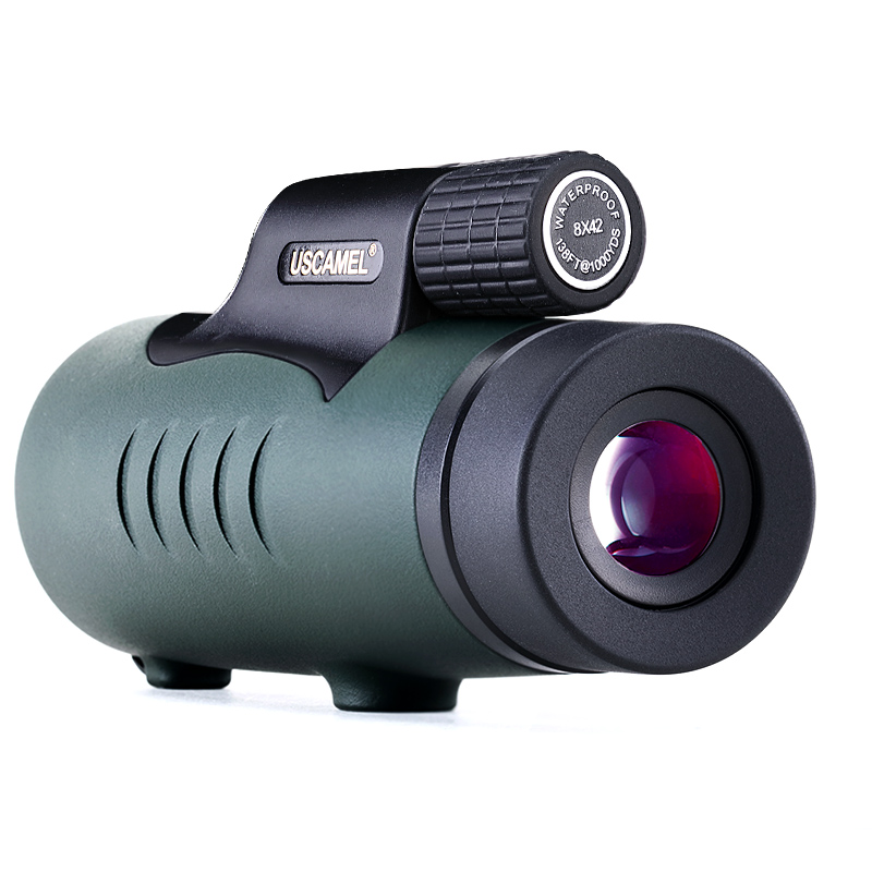 USCAMEL 8X42 Monocular Compact Hunting BAK7 Clear Vision for Bird Watching Waterproof Telescope HD Black Army green in Monocular Binoculars from Sports Entertainment