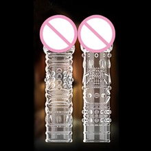 Sex toys for Men Crystal Penis Sleeve With Dotted Reusable condoms Realistic Glans Enlarger Extender Penis Cock G Spot Kondom