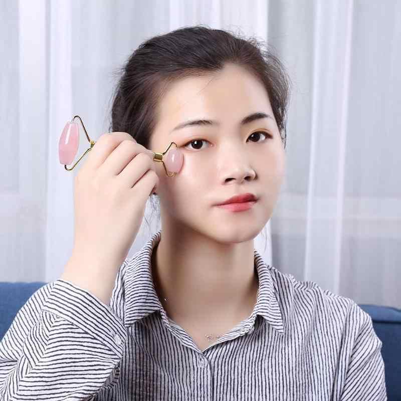 1Pc Dubbele Head Facial Massage Roller Crystal Quartz Gezicht Afslanken Lifting Tool Facial Massage Roller Steen Huid Anti Rimpel
