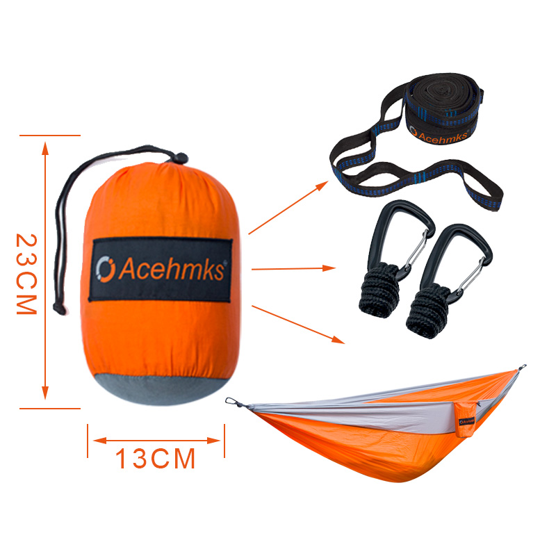 Acehmks Two Person Outdoor Furniture Pure Colour Aluminum Alloy Travel Outdoor Camping Parachute Hammock Swing Furniture Hammocks