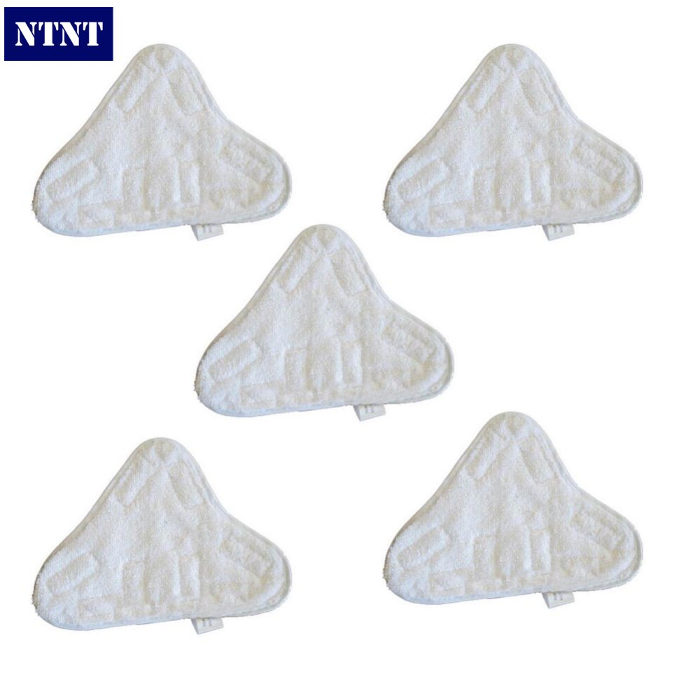 NTNT New 5 Pair Replacement Pads Velcro Microfibre Steam Mop Floor Pads For H20 5X Clean Mop Cloth free post ship new 6 qty for h20 5x clean mop washable velcro microfibre steam mop floor pads