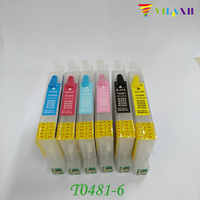 T0481 - T0486 Refillable Ink Cartridge For Epson Stylus R200 R300 R340 R300 R300M R320 RX500 RX600 RX620 RX640