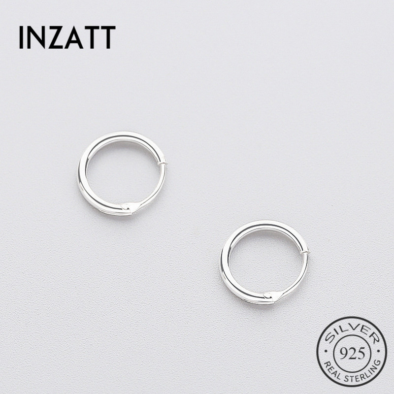 INZATT Real 925 Sterling Silver Minimalist Smooth Round Hoop Earrings Fine Jewelry Personality Accessories Black White Color(China)