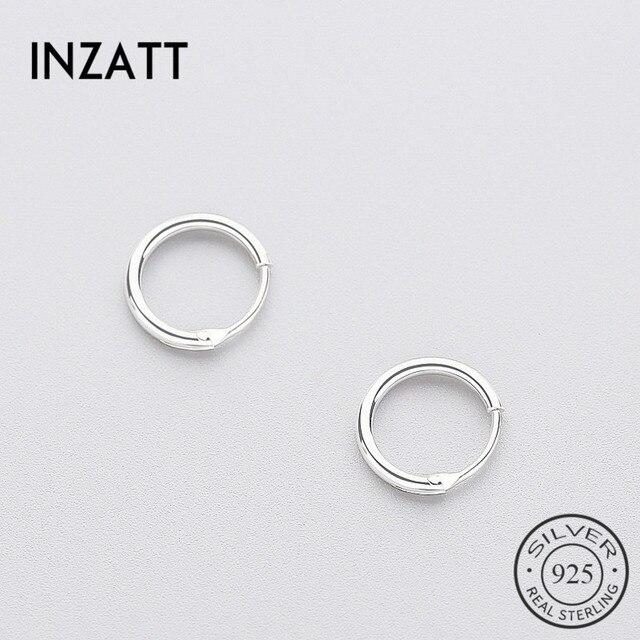 INZATT gerçek 925 ayar gümüş Minimalist pürüzsüz yuvarlak Hoop küpe güzel takı kişilik aksesuarları siyah beyaz renk