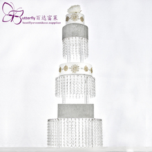 Acrylic Cupcake Tower Stand 3 Tier Round with Hanging Crystal Beaded Chandelier Cake wedding Party Display