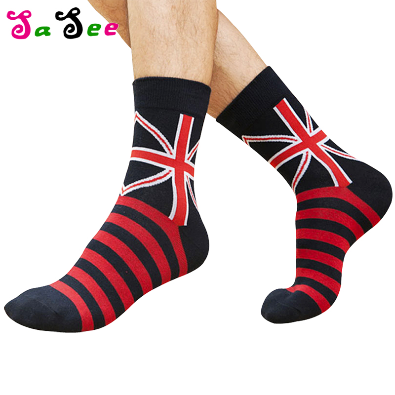 Hot Sale High Quality Spring Autumn Fashion Flag Cotton   Socks   Men Happy Casual Funny   Sock   Creative Striped Breathable Male   Sock