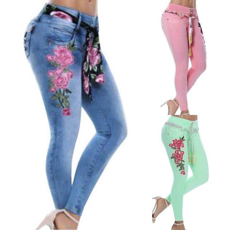 880ec6c5f8e NIBESSER для женщин  большие размеры вышивка эластичный с цветочным принтом  обтягивающие джинсы для длинные джинсовые