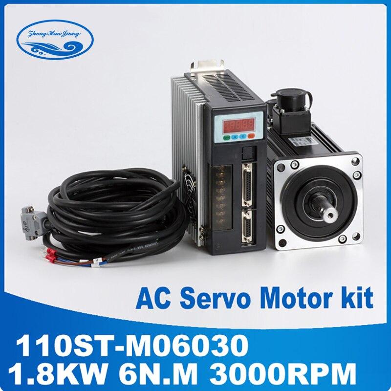 1.8KW AC Servo Motor 6N. M 30000 RPM 110ST-M06030 AC Motor + Servo Motor Driver + 3 M Cable completo kits de Motor