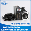 1.8KW AC servo motor 3000RPM 110ST-M06030 ac servo motor + servo motor driver