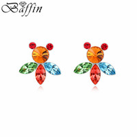 2015 New Design Piercing Earrings Made With Swarovski Crystal Fish Pendientes For Women Accessories