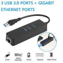3 Ports USB 3.0 Gigabit Ethernet LAN RJ45 Network Adapter Hub to 1000Mbps PC Mac цены
