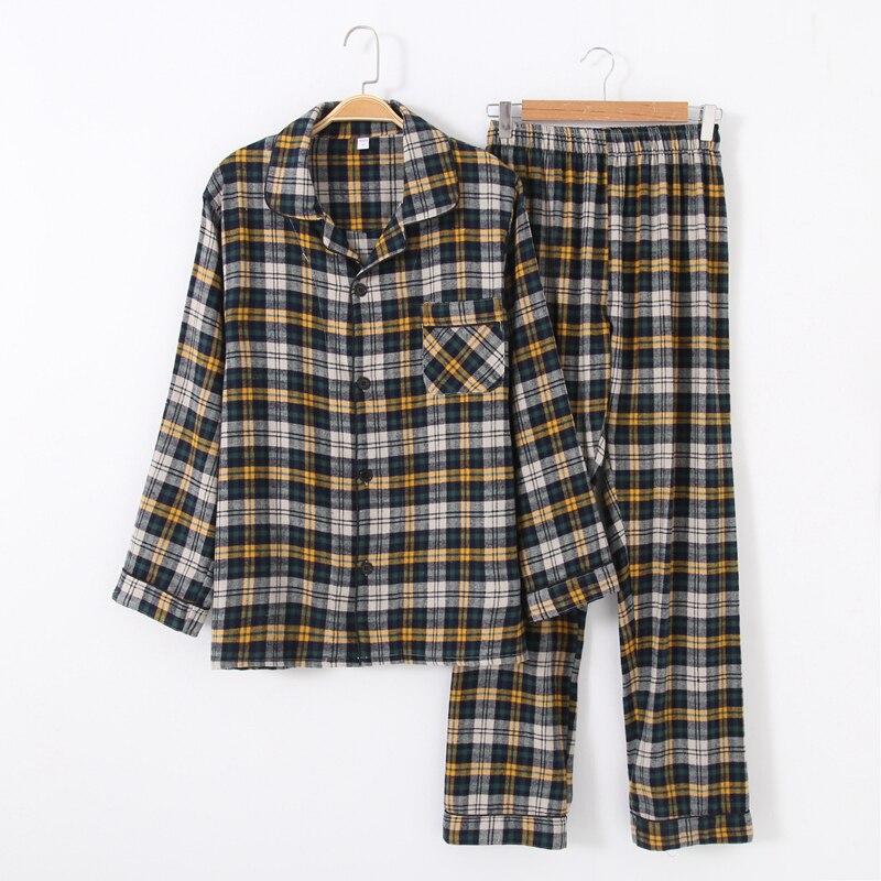 Men's Long-sleeved Trousers Yarn-dyed Cotton Denim Latticed Pajamas Suit Cotton Plaid Mens Pajama Set Men Sleepwear Sexy Pijama
