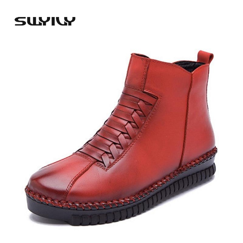 Fashion Sewing Genuine Leather Winter Women Ankle Boots Warm Short Plush Inside Rubber Sole Non-slip Women's Shoes Plus Size 43