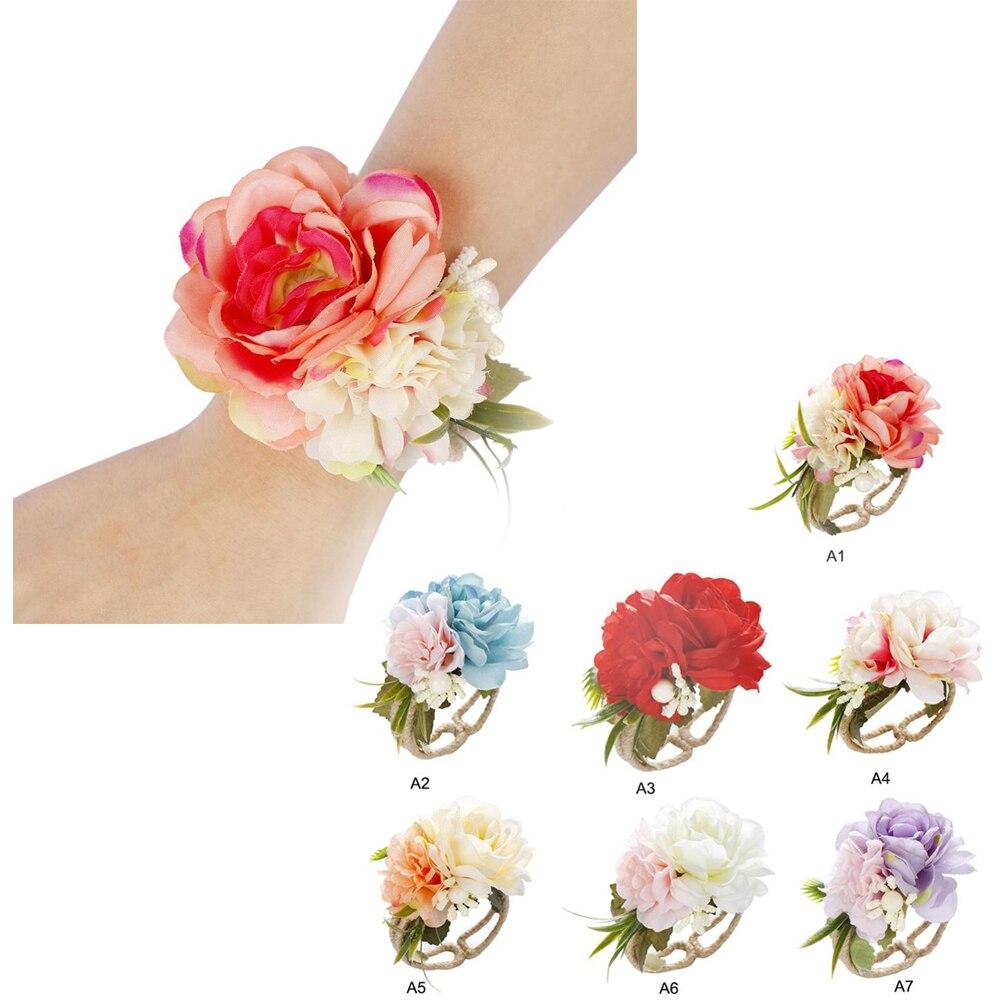 Handmade Cloth Wrist Corsage Bridal Bridesmaid Wrist Flower Stretch Bracelet Wristband Wedding Prom Hand Flowers Decoration