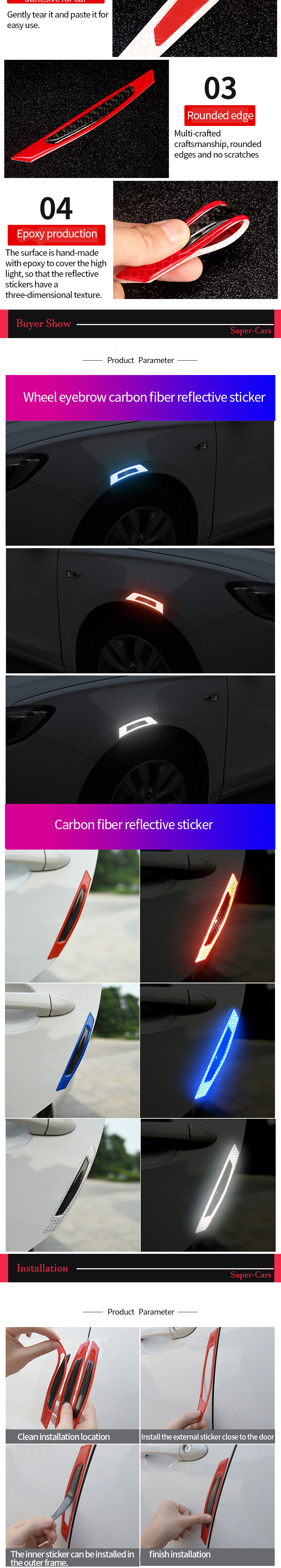 6-Car-Reflective-Strip-Door-Warning-Reflector-Carbon-Fiber-Universal-Luminous-Stickers-and-Decals-Night-Protector-Auto-Accessories