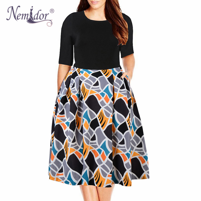 Nemidor 2019 Women Vintage O neck Half Sleeve Print A line Dress Plus Size 7XL 8XL 9XL Party Swing Casual Dress With Pockets