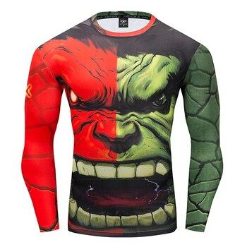 Tot2 моды для мужчин сжатия 3D Marvel Мстители Капитан Америка человек-паук Длинные рукава футболка Мужская Фитнес футболка S